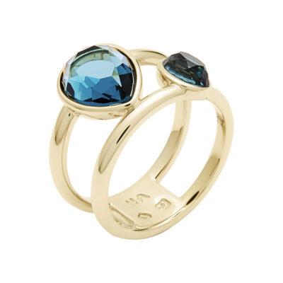 LUXOR Ring, vergoldet, blau