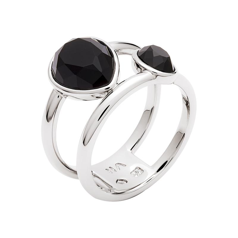 LUXOR Ring, rhodiniert, schwarz