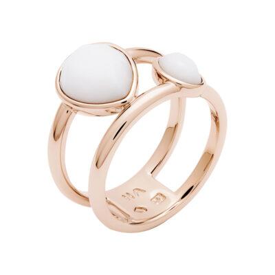 LUXOR Ring, rosè vergoldet, weiss