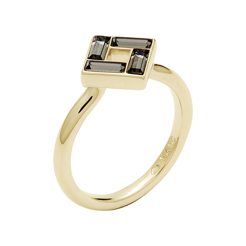 MOSAIC Ring, vergoldet, grau