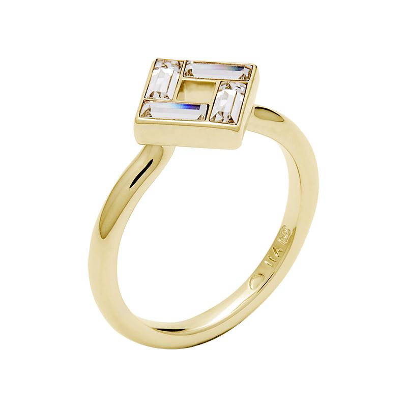 MOSAIC Ring, vergoldet, kristall-farbig