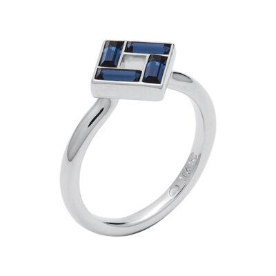 MOSAIC Ring, rhodiniert, dunkel blau