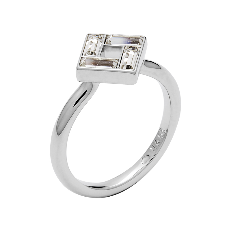 MOSAIC Ring, rhodiniert, kristall-farbig