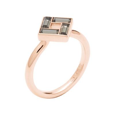 MOSAIC Ring, rosè vergoldet, grau