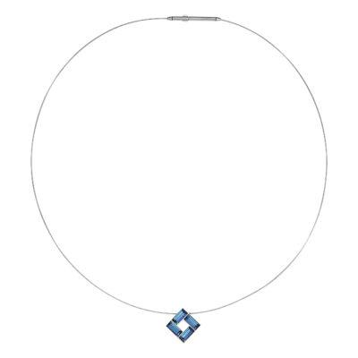 MOSAIC Collier, rhodiniert, dunkel blau