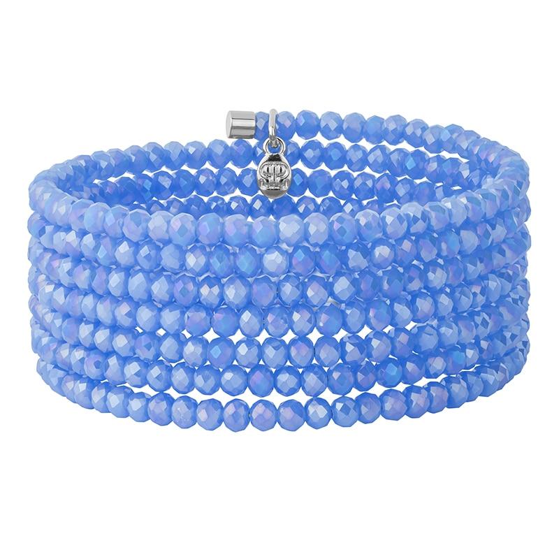 GLAMOROUS BANGLE Armreif, rhodiniert, hell blau farbig