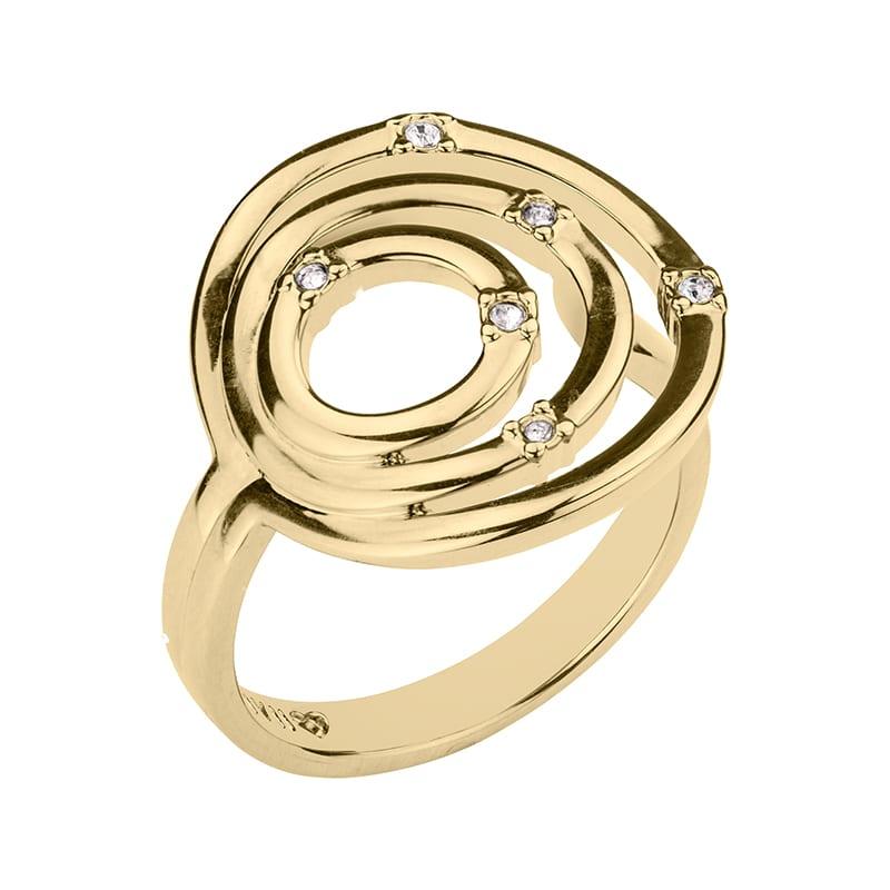 SOLARIS Ring, vergoldet, kristall-farbig
