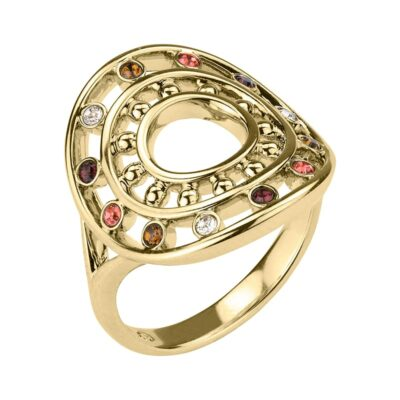 HELIOS Ring, vergoldet, multicolor
