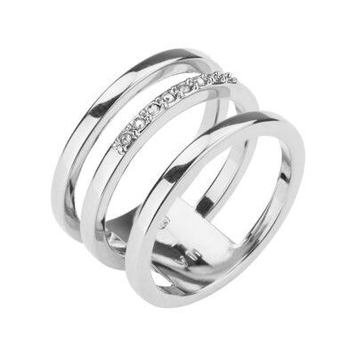 TRIPLETTE Ring, rhodiniert, kristall-farbig