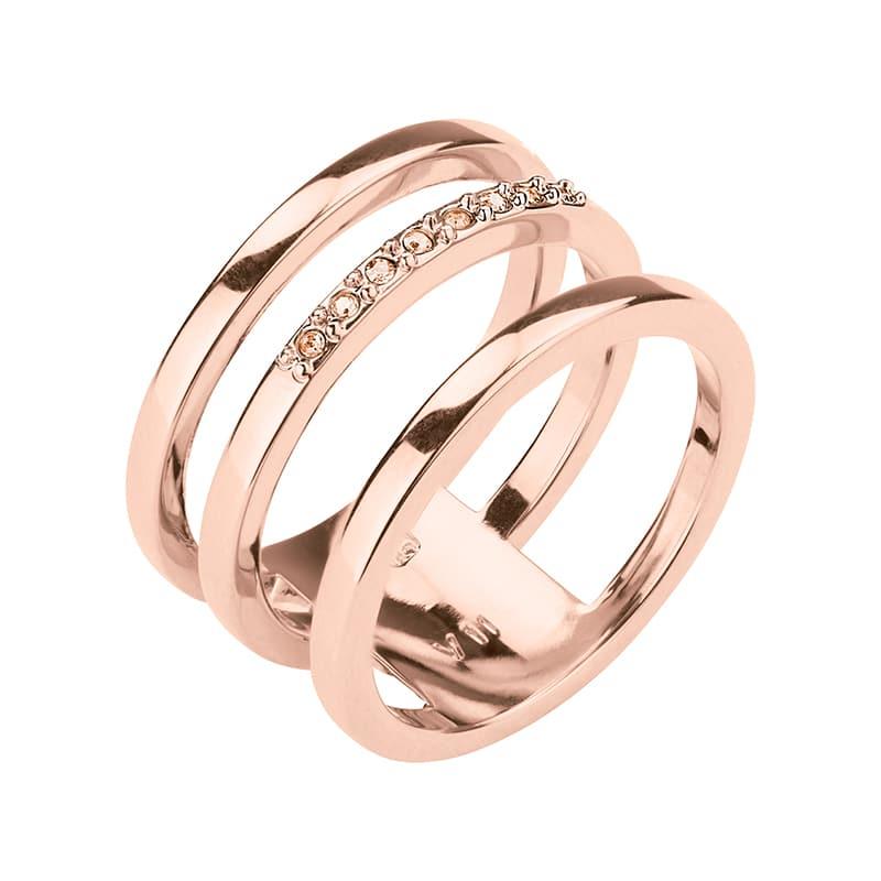 TRIPLETTE Ring, rosè vergoldet, Nude