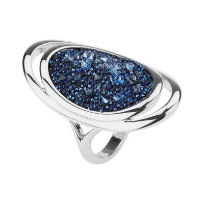 CHARMING HERITAGE Ring, rhodiniert, dunkelblau