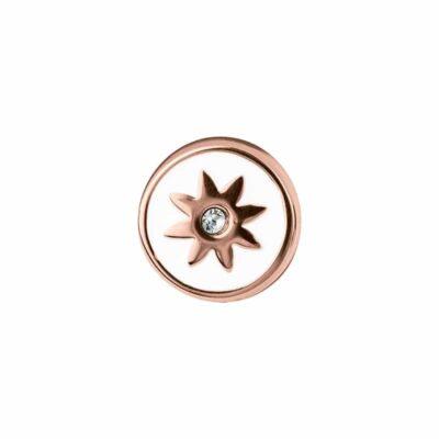 PRALINÉ Motiv, rosè vergoldet, weiß, kristall-farbig
