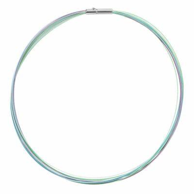 COLORE Collier, rhodiniert, hell blau farbig, hell grün farbig, hell lavendel farbig; amethyst farbig