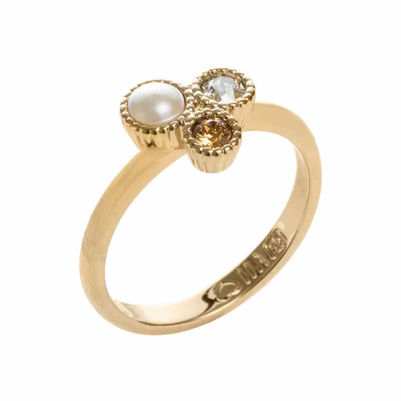 VIOLA Ring, vergoldet, cremerosé, multicolor
