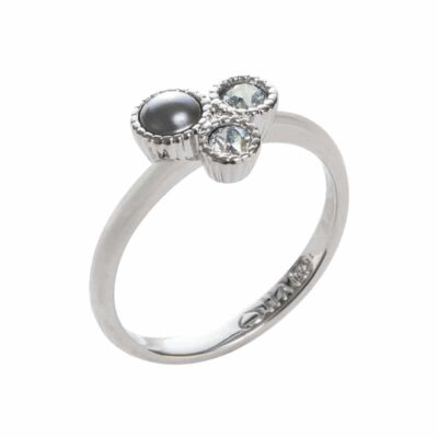 VIOLA Ring, rhodiniert, grau, multicolor