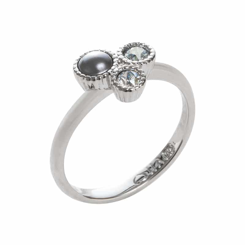 VIOLA Ring, rhodiniert, grau, multicolor