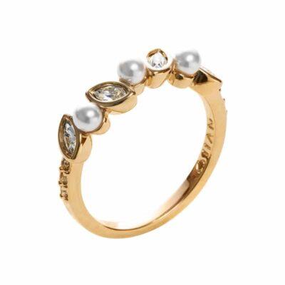 PRIME OF LOVE Ring, Neu, vergoldet, weiß, kristall-farbig