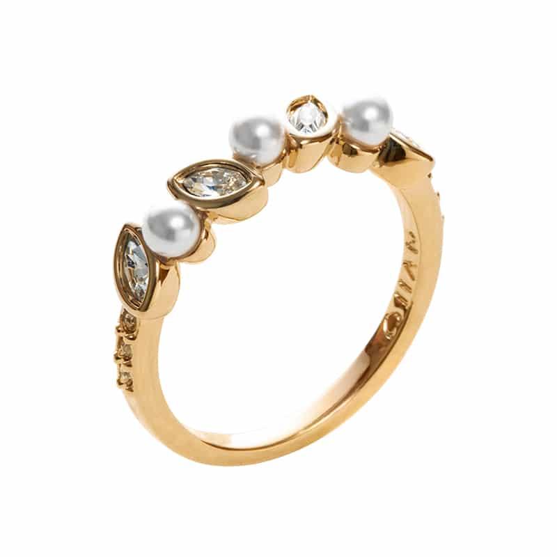 PRIME OF LOVE Ring, vergoldet, weiß, kristall-farbig