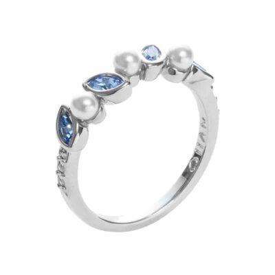 PRIME OF LOVE Ring, Neu, rhodiniert, weiß, hell blau farbig, kristall-farbig