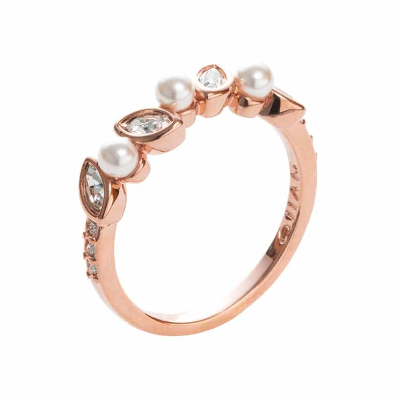 PRIME OF LOVE Ring, rosè vergoldet, weiß, kristall-farbig