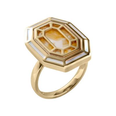 TEMPTATION Ring, vergoldet, golden yellow [=gelb] farbig, multicolor, weiß