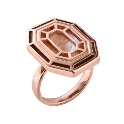 TEMPTATION Ring, rosè vergoldet, dunkel topas farbig, multicolor, braun