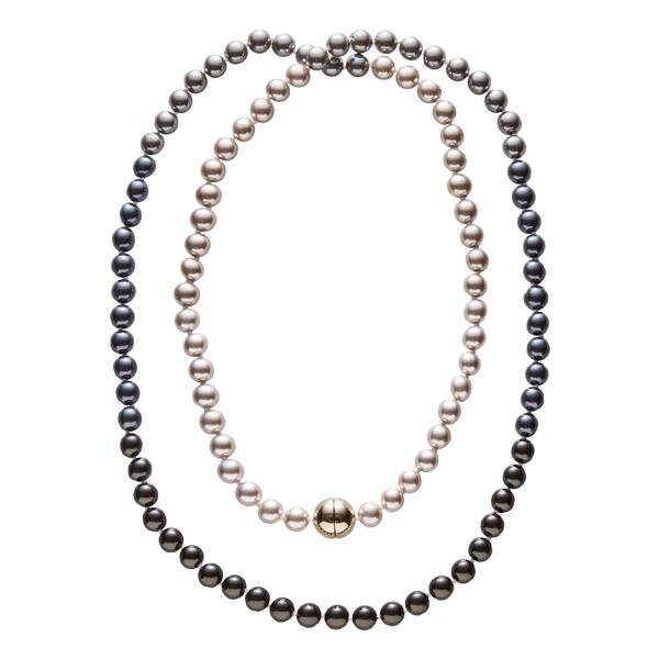 DEEP PEARL Perlenkette, vergoldet, multi-braun