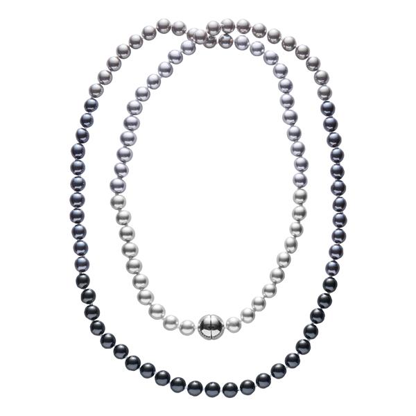 DEEP PEARL Perlenkette, rhodiniert, multi-grau