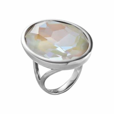 IMPÉRIALE Ring, rhodiniert, milch-opal farbig