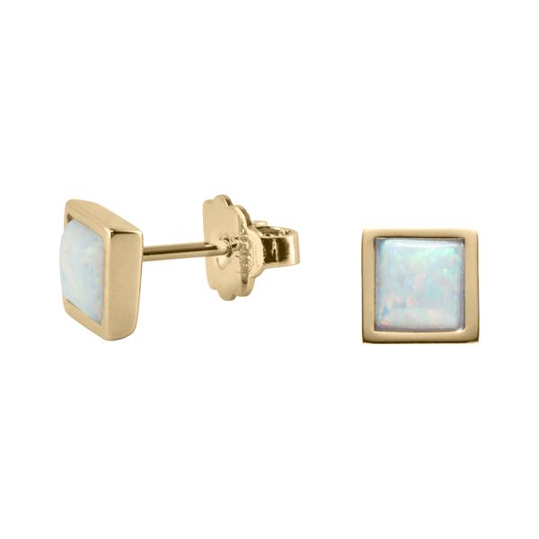 TRINITY Ohrstecker, vergoldet, opal farbig