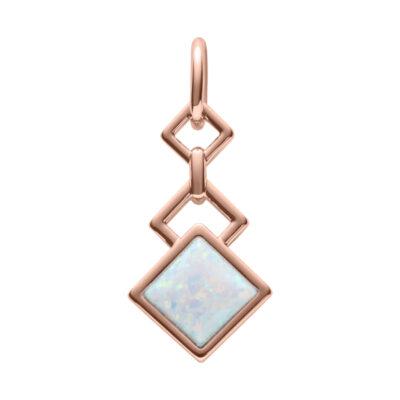 TRINITY Anhänger, rosè vergoldet, opal farbig