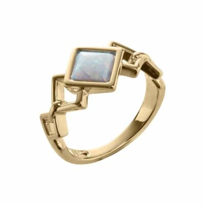 TRINITY Ring, vergoldet, opal farbig