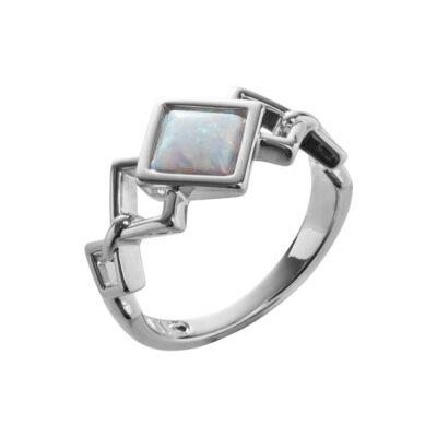 TRINITY Ring, rhodiniert, opal farbig