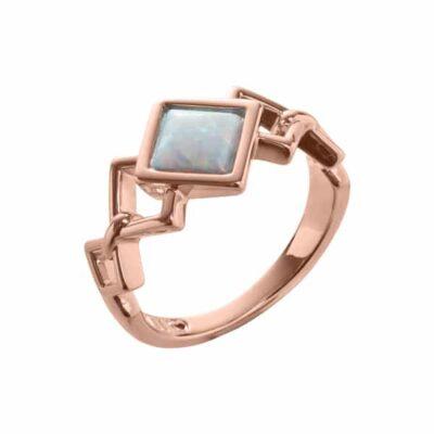 TRINITY Ring, rosè vergoldet, opal farbig