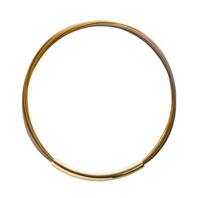 AURORA Halsreifen, vergoldet, gold farbig, grau