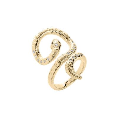 BOA Ring, vergoldet, kristall-farbig