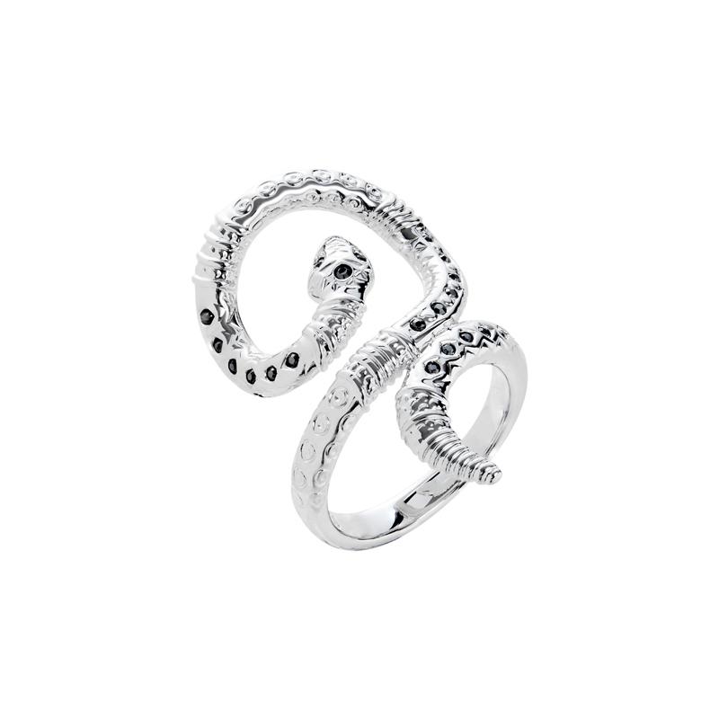 BOA Ring, rhodiniert, metallic grau