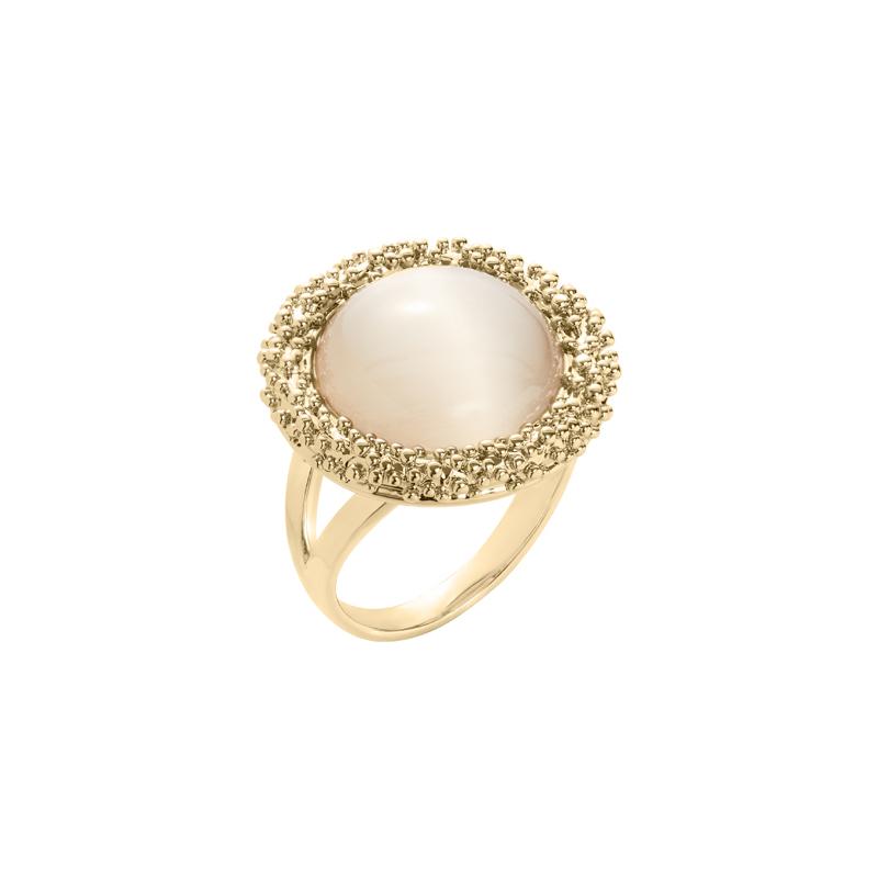 DAHLIA Ring, vergoldet, beige