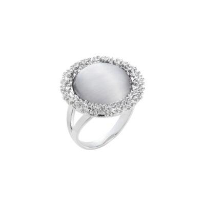 DAHLIA Ring, rhodiniert, hell grau farbig