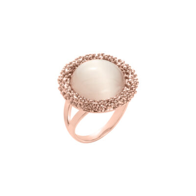 DAHLIA Ring, rosè vergoldet, beige