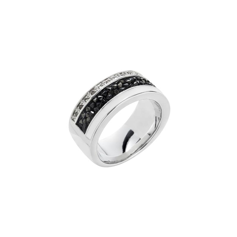 EUPHORIA Ring, rhodiniert, weiß