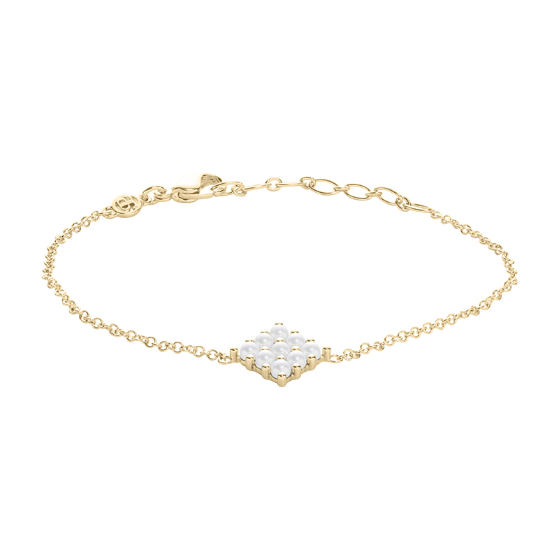 PETITE PEARL Armband, vergoldet, weiß