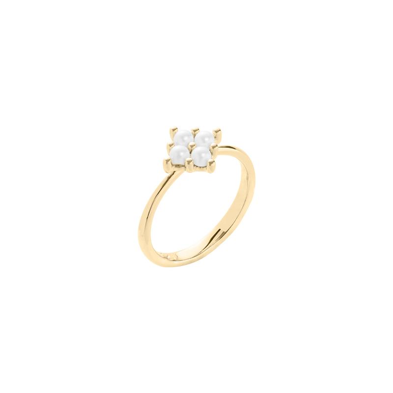 PETITE PEARL Ring, vergoldet, weiß