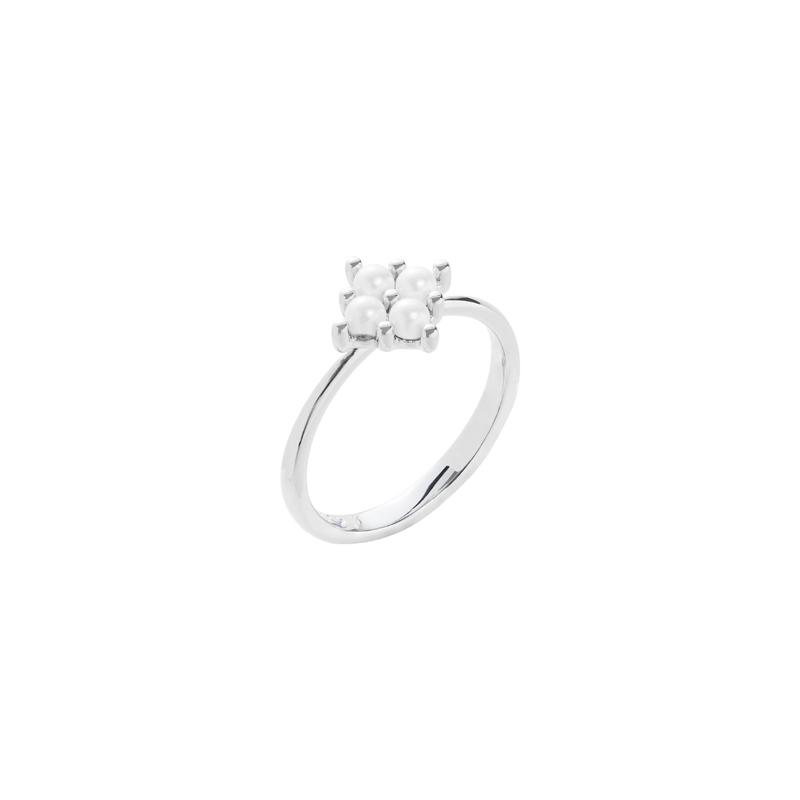 PETITE PEARL Ring, rhodiniert, weiß