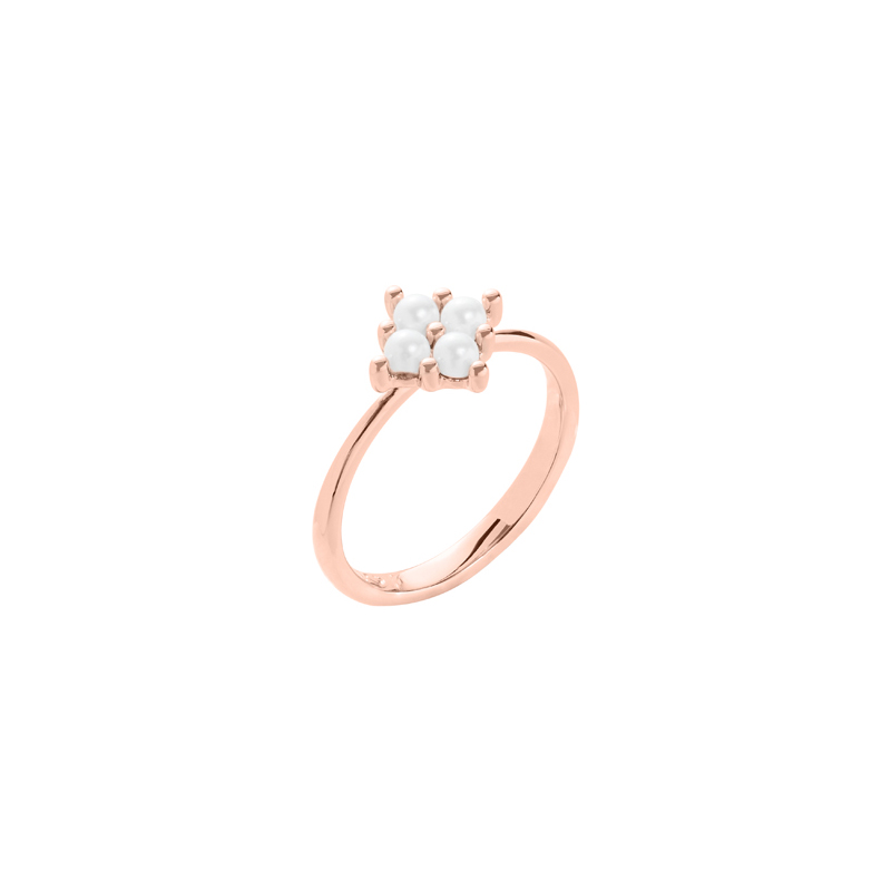 PETITE PEARL Ring, rosè vergoldet, cremerosé