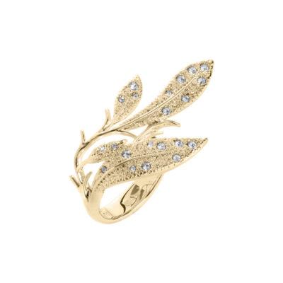 EDEN Ring, vergoldet, kristall-farbig