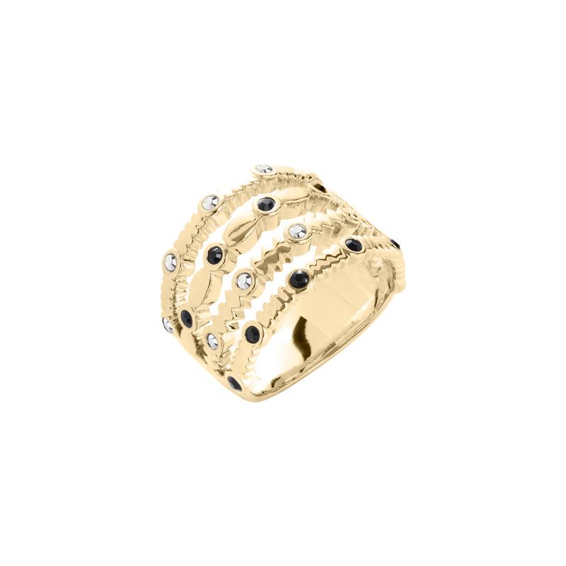 AURA Ring, vergoldet, metallic grau, hell grau farbig