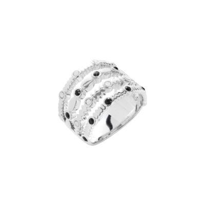 AURA Ring, rhodiniert, schwarz
