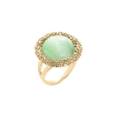 DAHLIA Ring, vergoldet, hell grün farbig