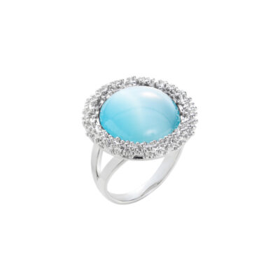 DAHLIA Ring, rhodiniert, hell blau farbig